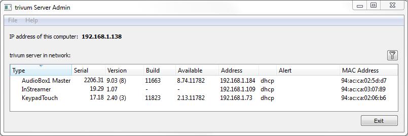 screenshot trivum serveradmintool
